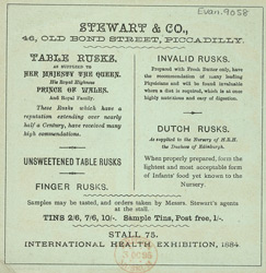 Advert for Stewart & Co, bread & biscuit makers, reverse side